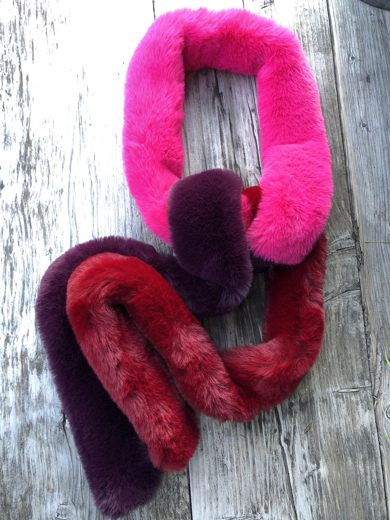 Long 3 Colour Soft Scarf - PINK MIX