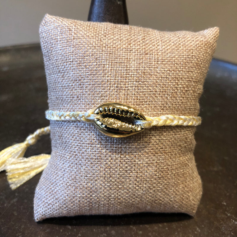 Gold Cowry Shell on Plaited Cord Bracelet