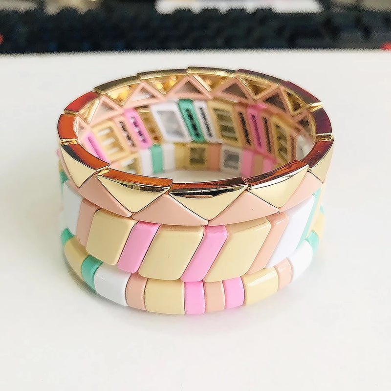 Enamel Tile Beads Bracelet - Slanting Beads Pattern in Soft/Neutral Rainbow