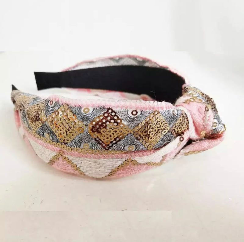 Harlequin Sequins and Embroidery PINK Headband - Flat / Top Knot
