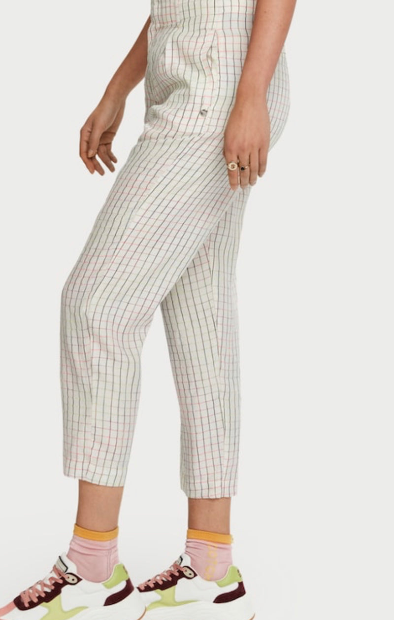 SCOTCH & SODA Space Dye Checkered Cropped Trousers