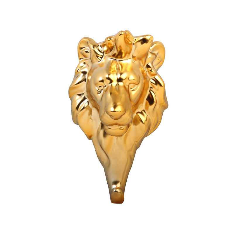 Gold Lustre Glazed Porcelain (Strong) Trophy Head Wall Hooks - 3 Options