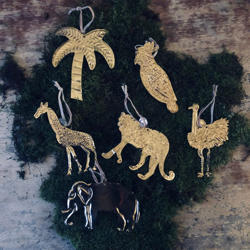 Brass Christmas Decorations - Tropical Theme