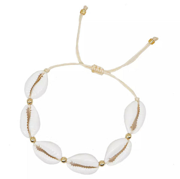 White Cowrie Shells Bracelet - Gold Beads - Adjustable