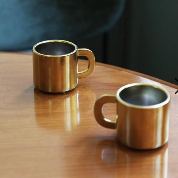 Gold Coffee / Tea / Chocolate Mugs (Set of 2)