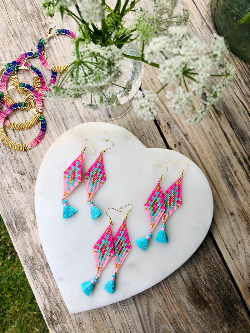 Pink and Turquoise and Aztec Pattern Seed Bead Earrings