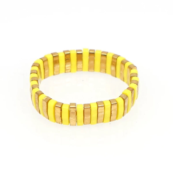Slim Beads Ring - White, Blue or Yellow