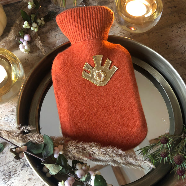 BURNT ORANGE COLOURS  Mini Hot Water Bottle - Upcycled Cashmere Cover