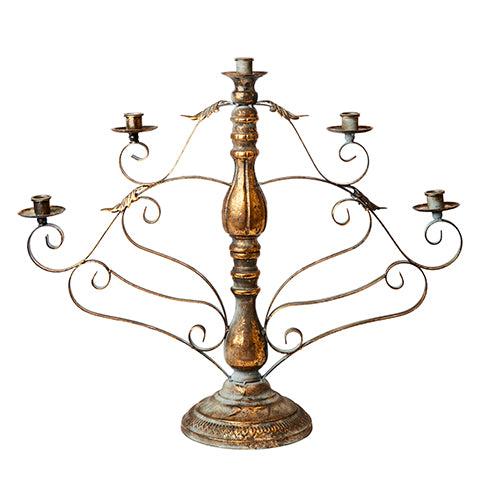 Distressed Metal with Gilt Candelabra (for 5 candles)