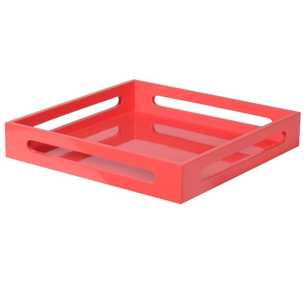Deep Bright Coral Lacquered Square Tray