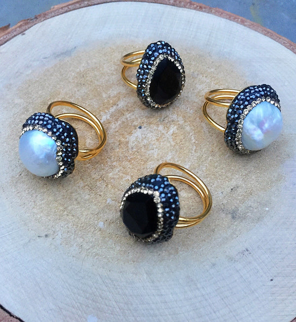 Jet Black and Pearl Statement Cocktail Rings. Beautiful Style Ring