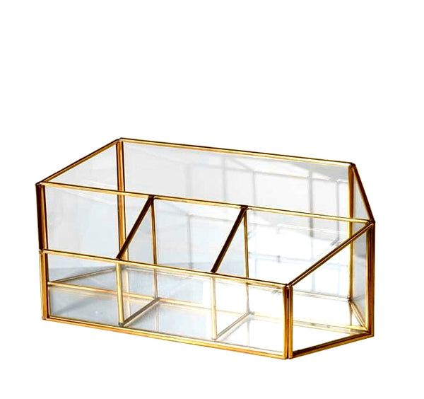 Gold Metal and Glass Tidy