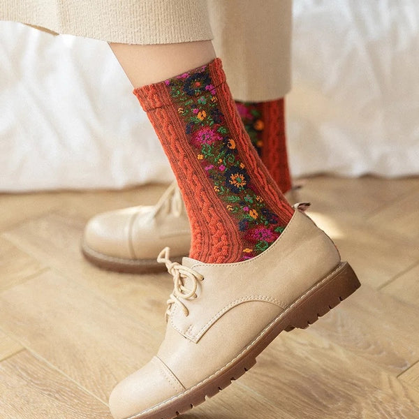 Woven Cotton Socks - (Floral Sides) 4 Colours