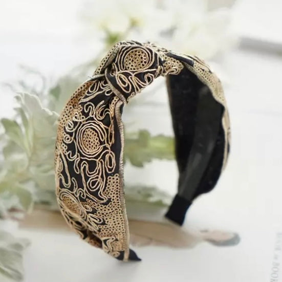 Embroidered Gold Thread Hairband - 2 COLOURS