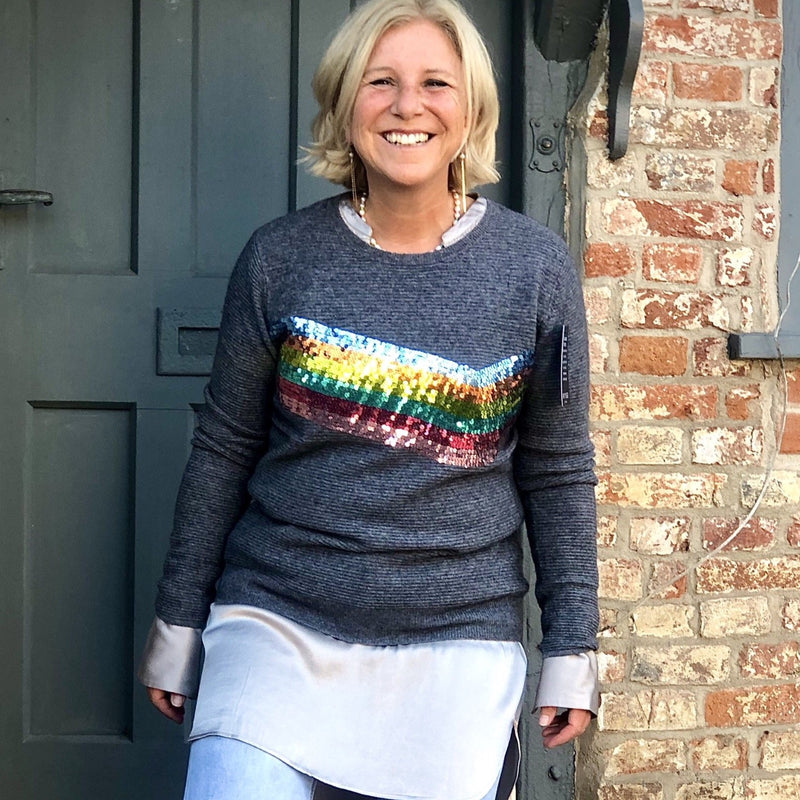 Wyse - Sequin Rainbow on Ribbed Grey Cashmere Sweater