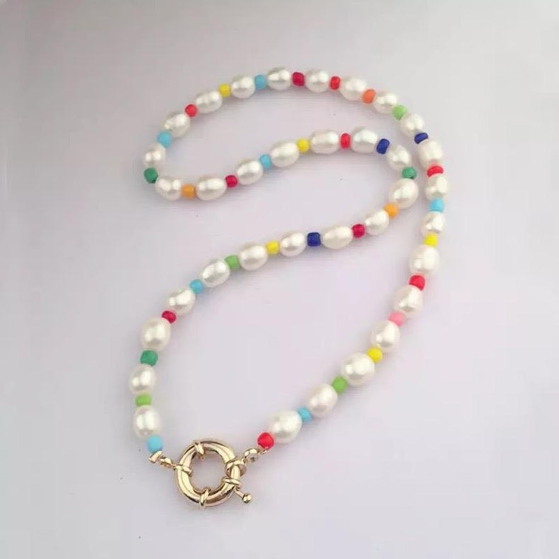 Freshwater Pearls and Rainbow Beads Necklace