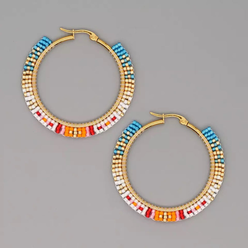 Polly Hoops Beads Pattern Earrings