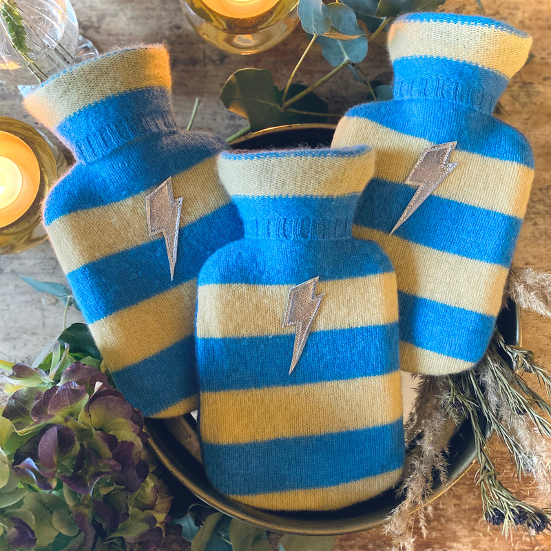 BLUE / YELLOW STRIPED Mini Hot Water Bottle - Upcycled Cashmere Cover