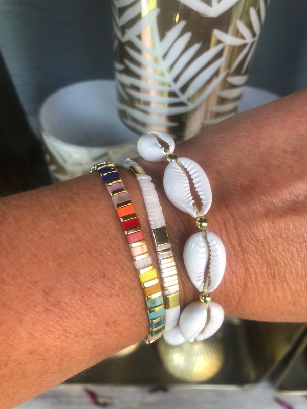 Slim Beads Bracelets - White and Gold or White and Denim