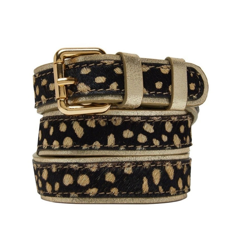 Animal Print Leather Belt - Black with Gold Edge