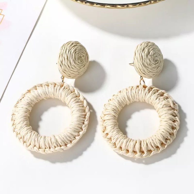 Statement Straw Weave Earrings - Ball and Hoop - Light and Dark Options