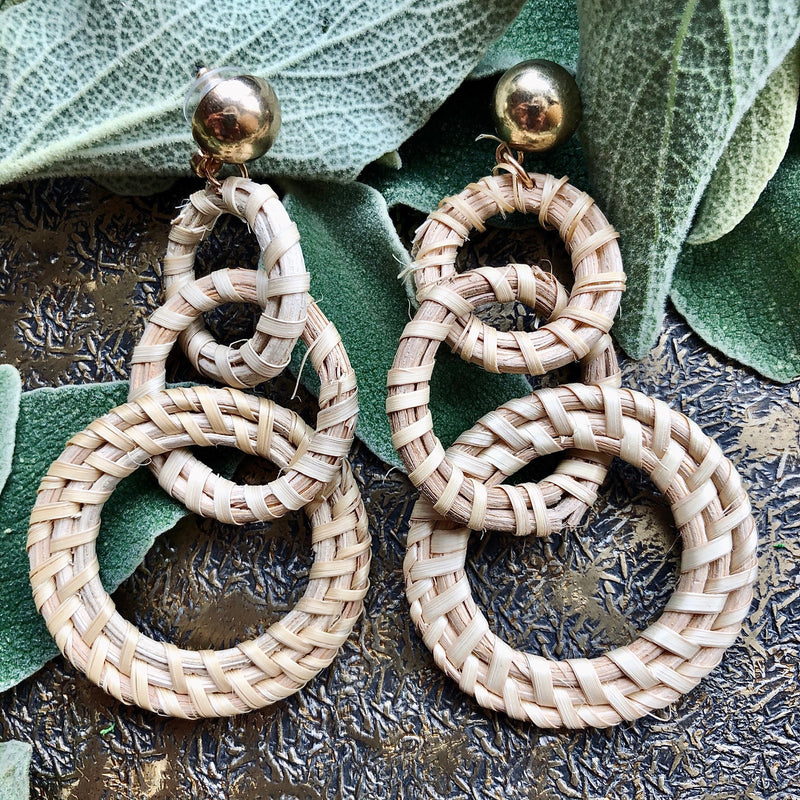 Statement Straw Weave Earrings - Graduating Interlocking Hoops