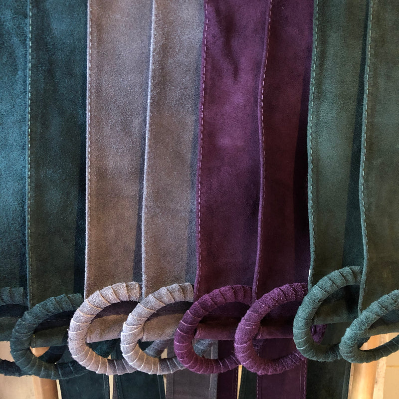 Italian Leather Round Buckle Suede Belt - 8 COLOURS