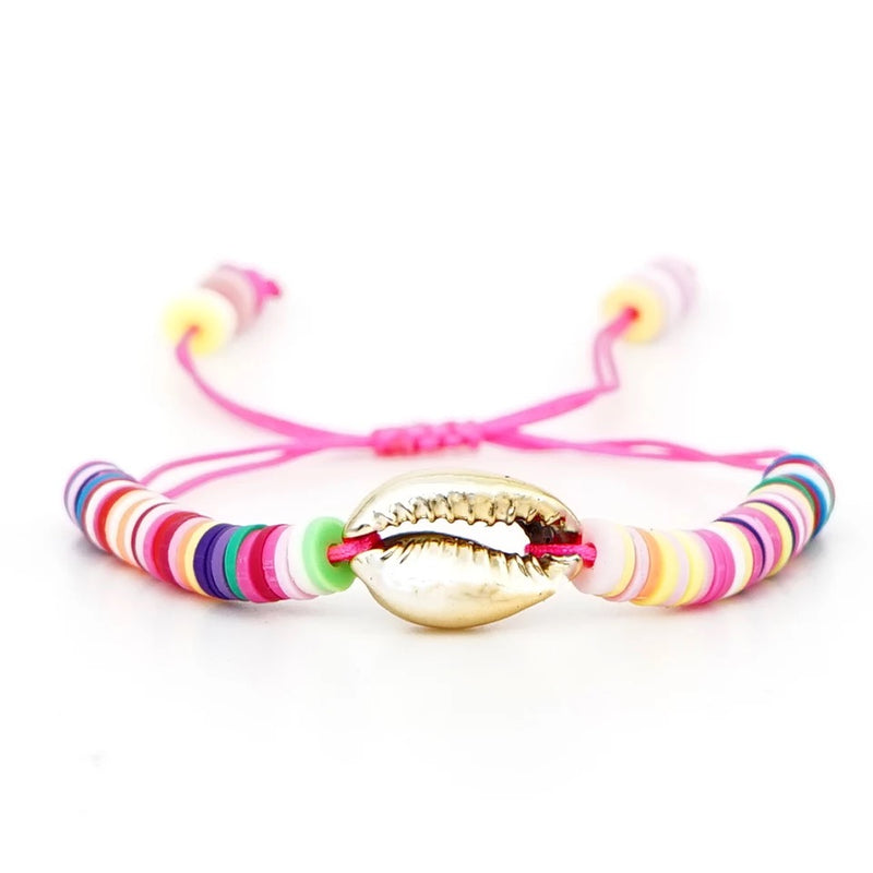 Bright Disc Beads with Gold Cowry Shell Bracelet