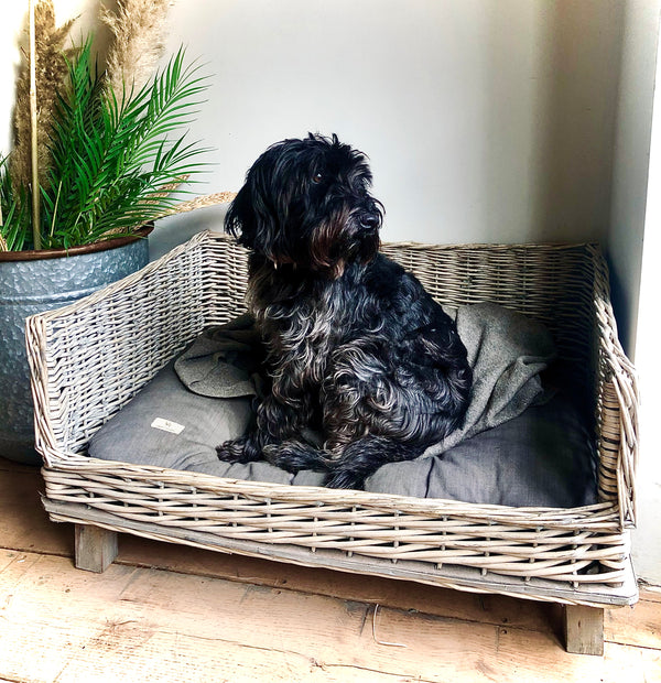 Wicker Rectangle Dog Bed, on Wooden Feet - 2 sizes