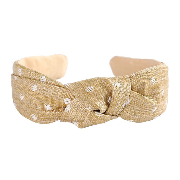 Embroidered Straw Weave Hairband - Natural with White Spots