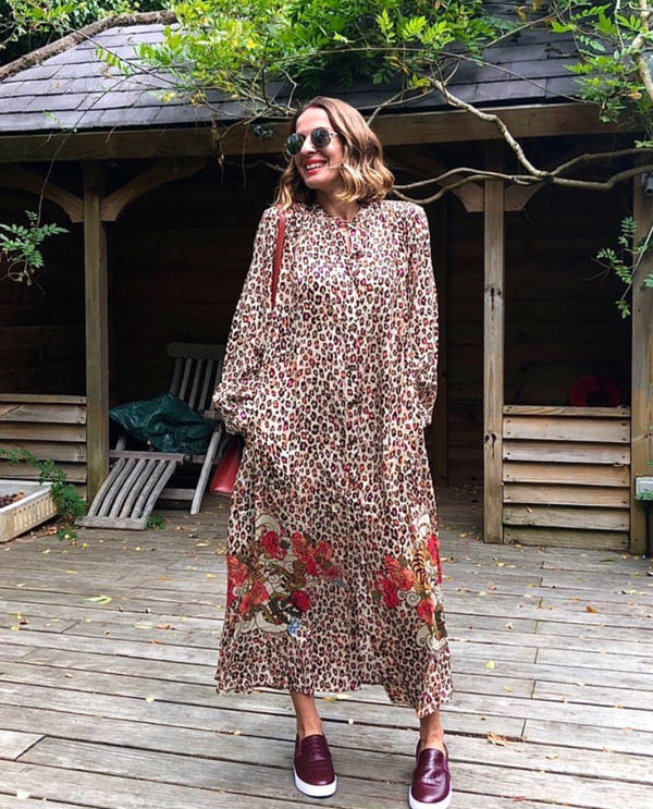 Elena - Tiger and Leopard Long Shirt Dress