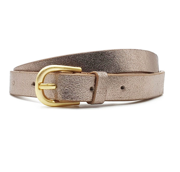 Metallic Bronze Leather Belt