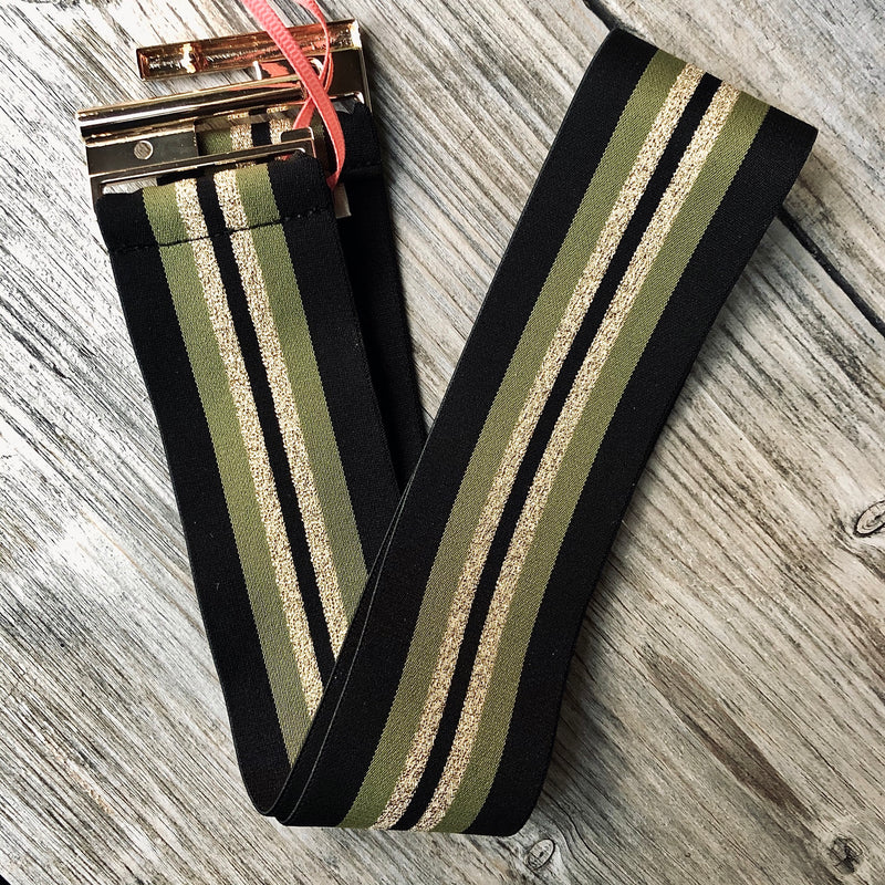 Patterned Elastic Slide Buckle Belt - ARMY / GOLD STRIPE