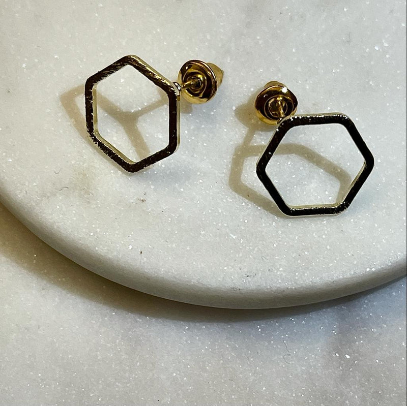 Arrow and Hexagon Stud Earrings Set, Rose Gold and Gold Colour