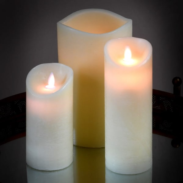 Cream LED Pillar Candle (Battery) - 20 cm