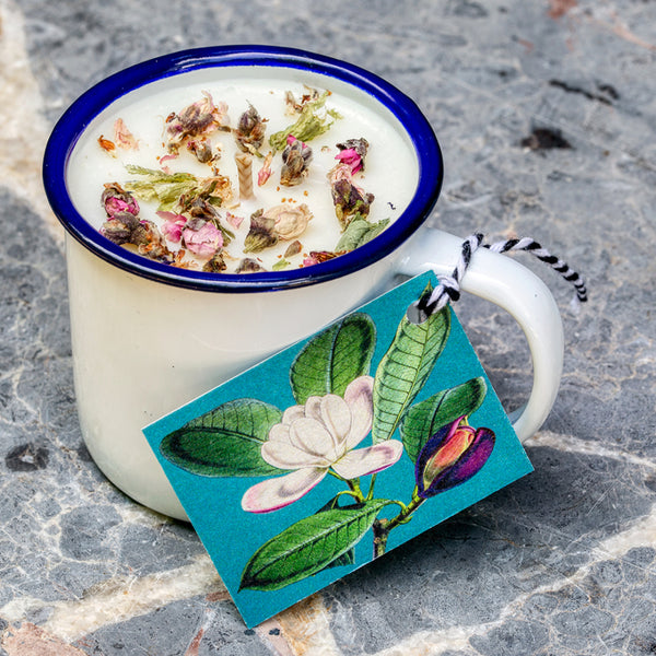 Herb Garden Scented Soy Candle - Enamel Tin Mug