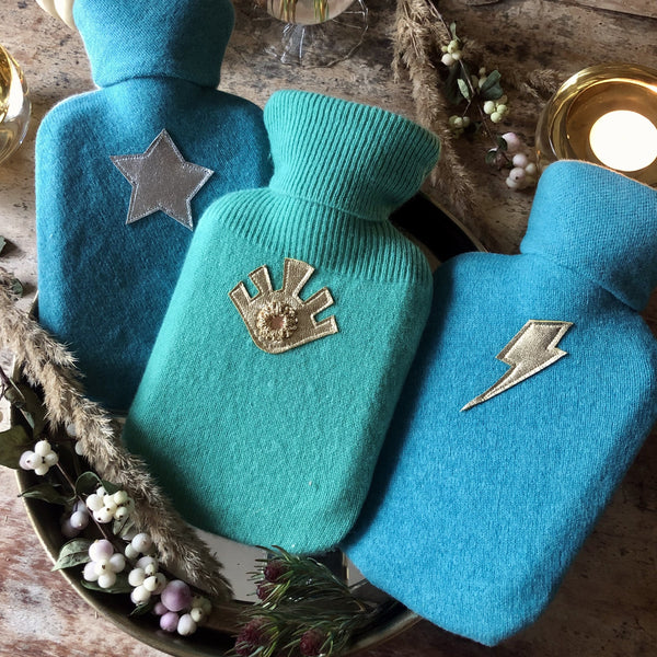 TURQUOISE COLOURS  Mini Hot Water Bottle - Upcycled Cashmere Cover