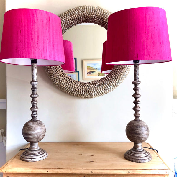 Brass Lamp with Hot Pink Shot Silk Shade