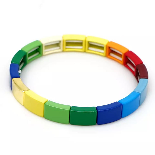 Enamel Tile Beads Bracelet - Bright Primary Colours - 1 Gold Bar