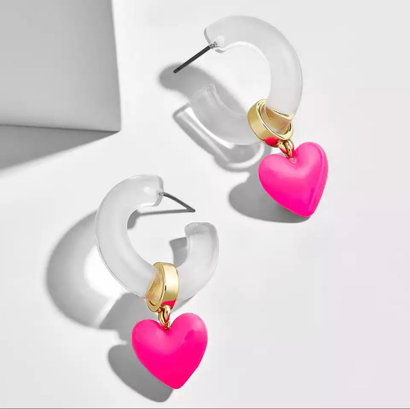Fluo Hearts / Clear Hoops Earrings
