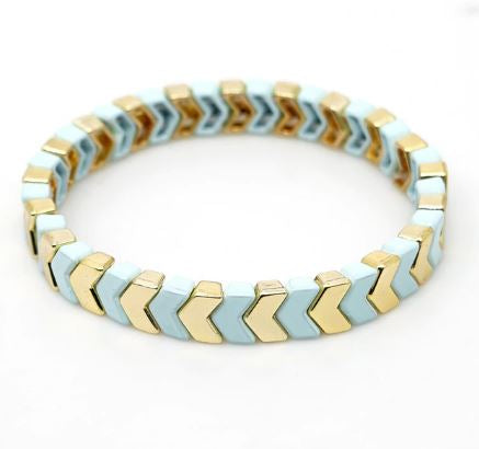 Enamel Tile Beads Bracelet - Mint / Gold Arrows