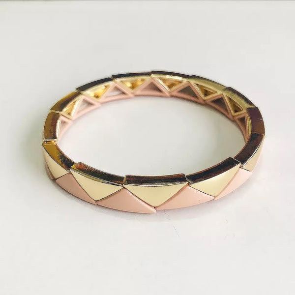 Enamel Tile Beads Bracelet - Dusky Rose / Gold Interlocking Triangles
