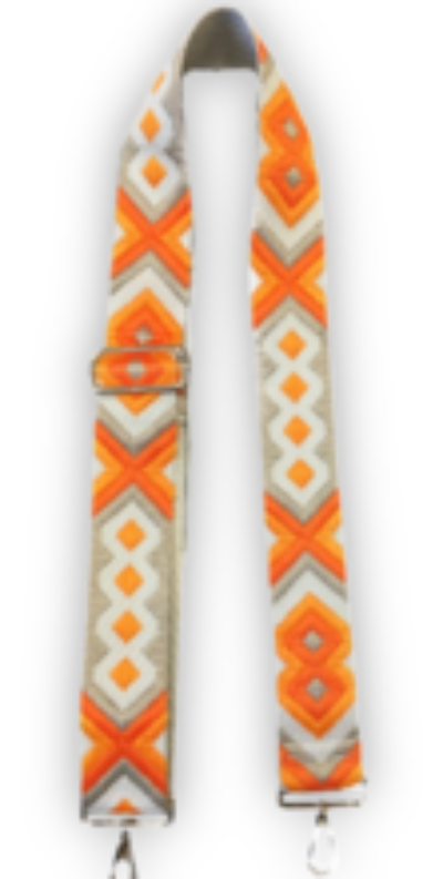 Orange and Neutral Aztec Embroidered Strap