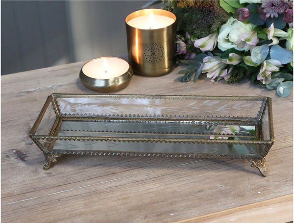 Long Glass and Brass Jewellery Tray