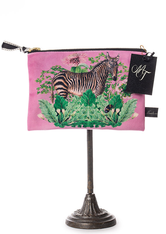 Velvet Zip Bag - Pink (Zebra)