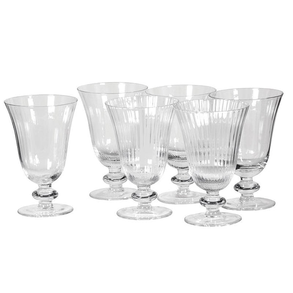 Box of 6 Ribbed Wine Glasses