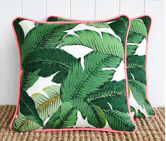 Palm Leaf Tropical Green Print Outdoor Fabric Cushion Pillow Square Long Bespoke