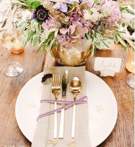 Gold Cutlery, 1 place setting (4 pieces)