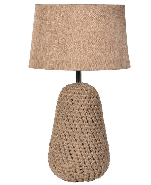Camel Jute Lamp including Linen Shade