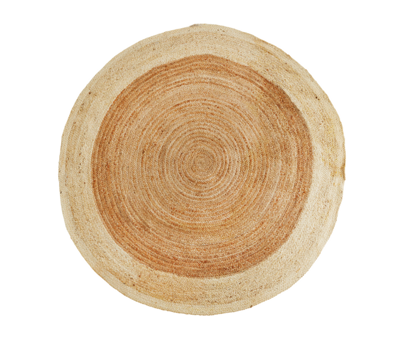 Round Jute Rug, Natural with Black Border, 2 Sizes